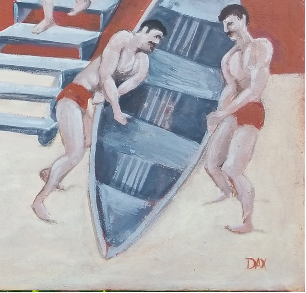 """Men Boating - Acrylic on Canvas by Dax Berg  36""""x 34"""""""