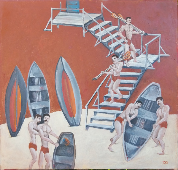 "Men Boating - Acrylic on Canvas by Dax Berg  36""x 34"""