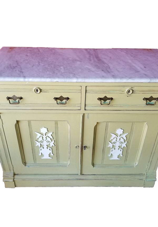 Marble-topped sideboard with hutch removed.