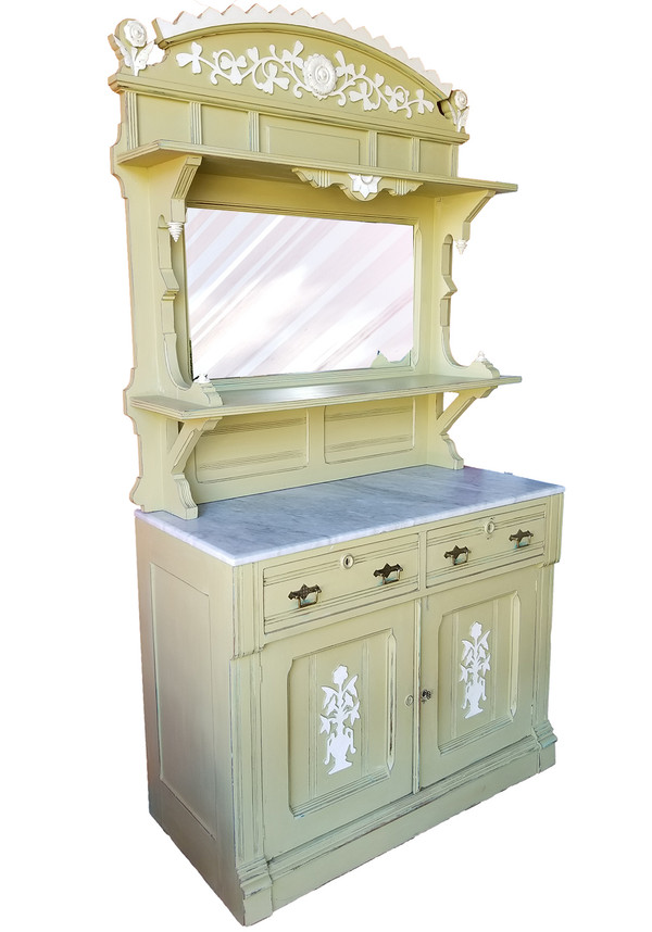 Eastlake sideboard and hutch painted pale green.