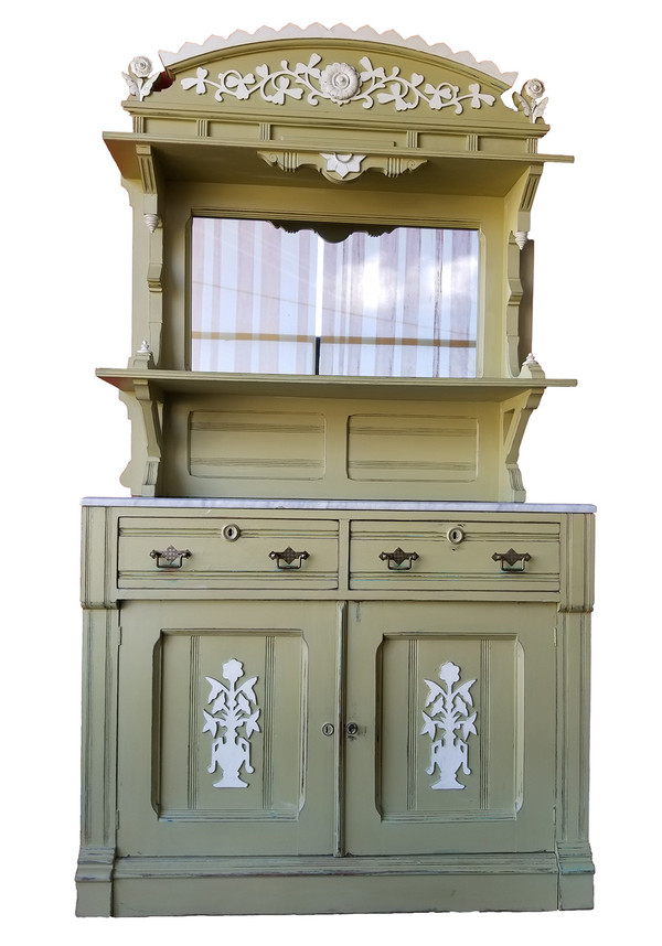 Artisan-painted Eastlake buffet with mirror.