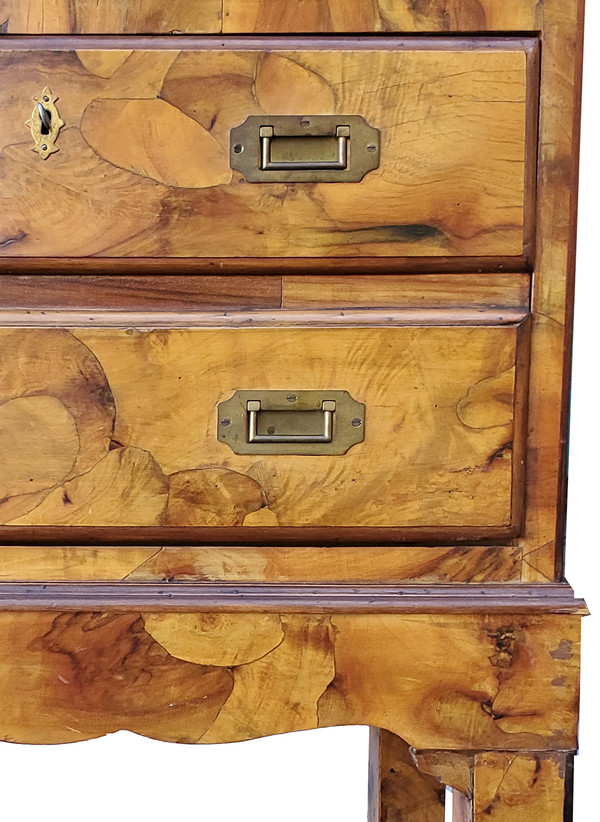 Organic olive wood marquetry and recessed brass handles on front of portable cabinet.