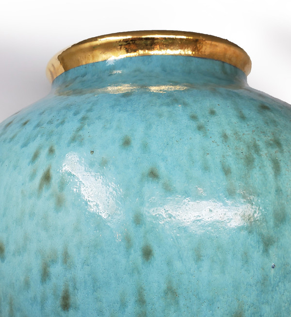 Turquoise and gold ceramic Klinsky vase.