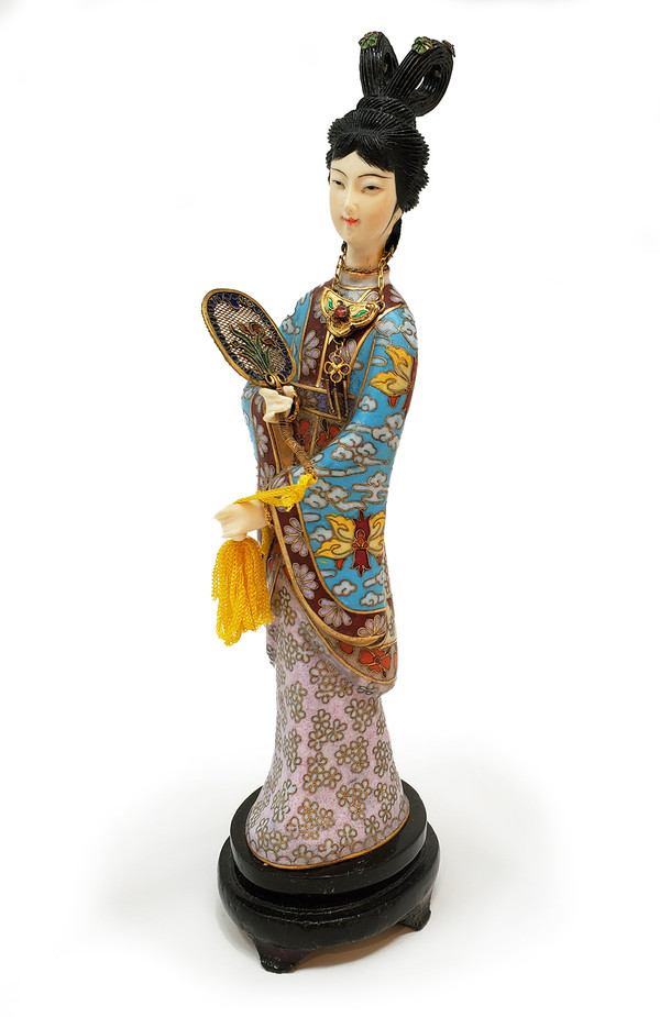 Japanese geisha statuette with cloisonne robe.