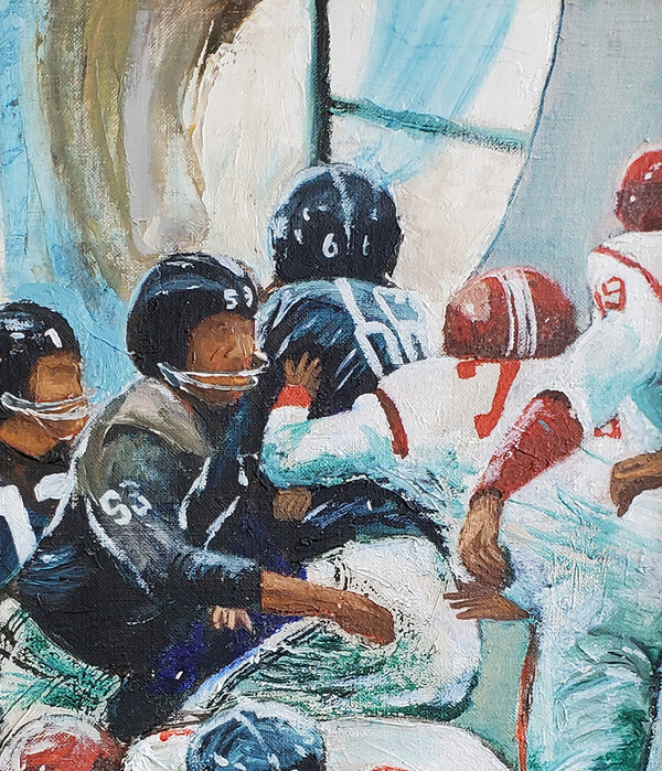 Oil painting of several football players in mid-play on field.