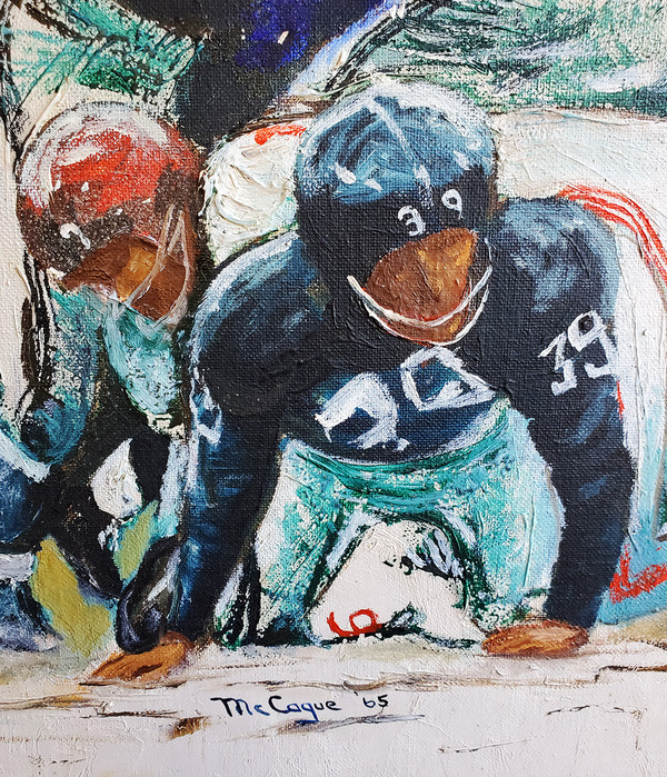 Oil painting detail of two football players on the ground.