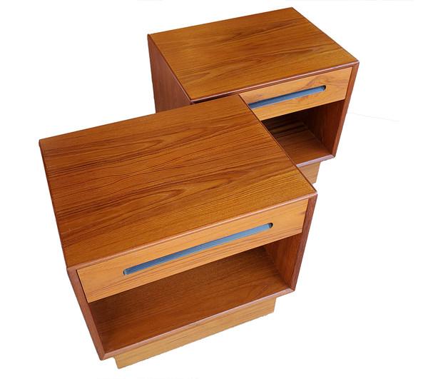 1960's Scandinavian design end tables in teak wood.