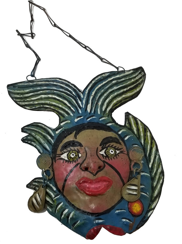 Painted copper fish mask from Mexico.