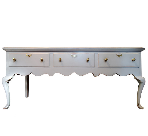 Grey Queen Anne style buffet server by Henkel Harris.