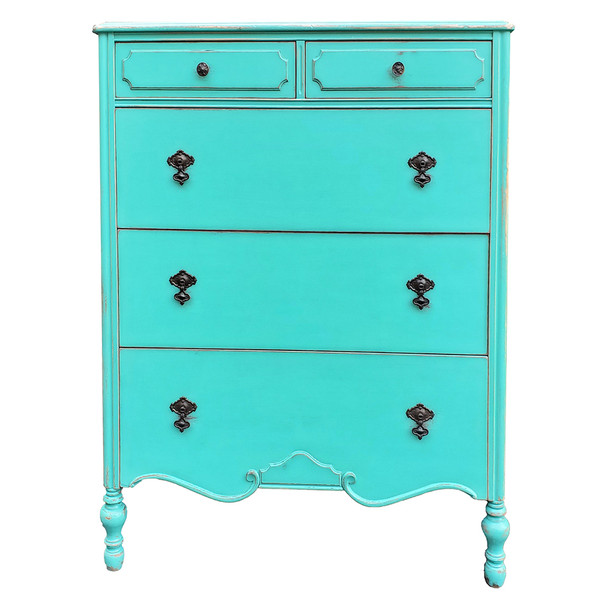 Aqua painted antique dresser.