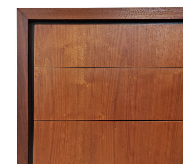Top corner of midcentury modern dresser.