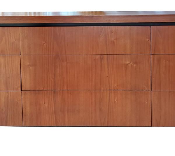 Matched grain patterns on drawers of Milo Baughman dresser.