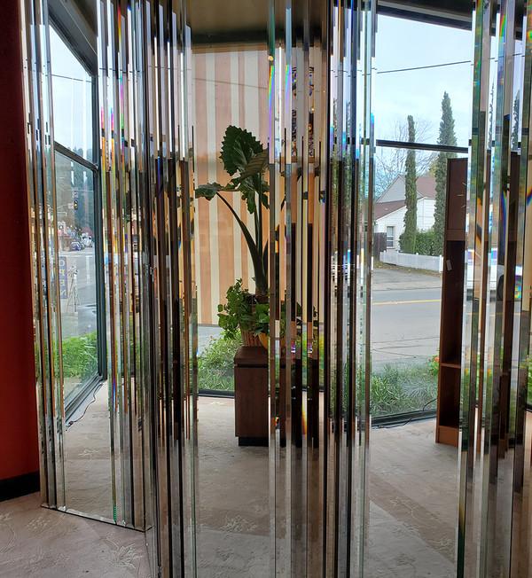 Four-Panel Beveled Mirror Screen