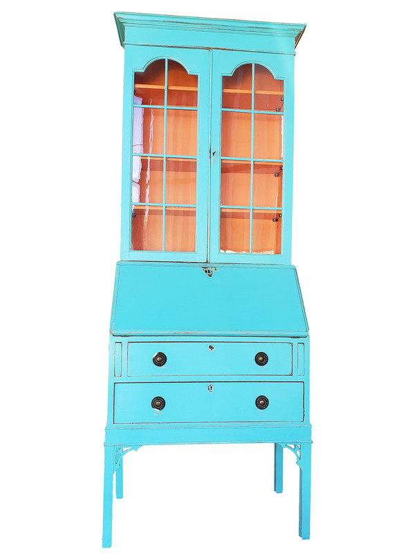 Handpainted Chinese Chippendale style secretary desk in orange and turquoise blue.