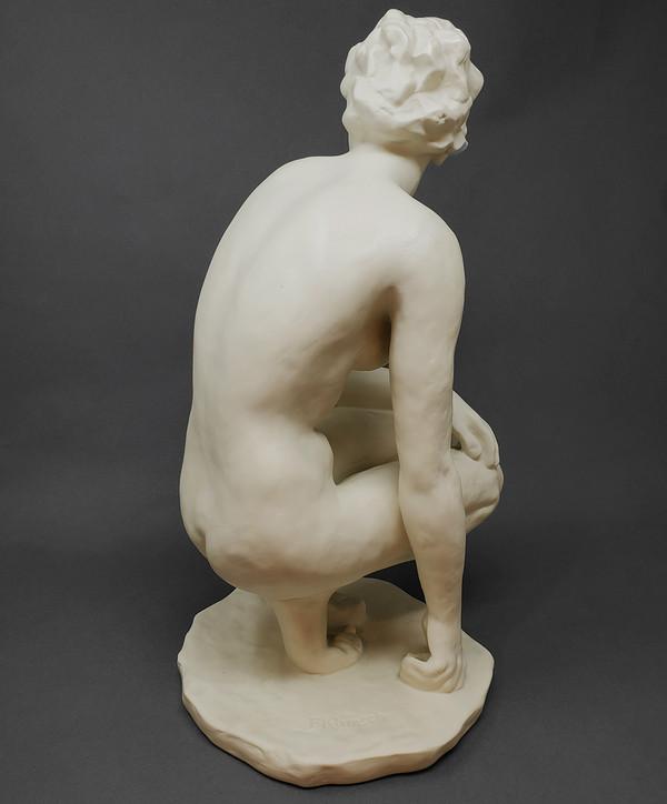 Back of porcelain figurative sculpture by Fritz Klimsch.
