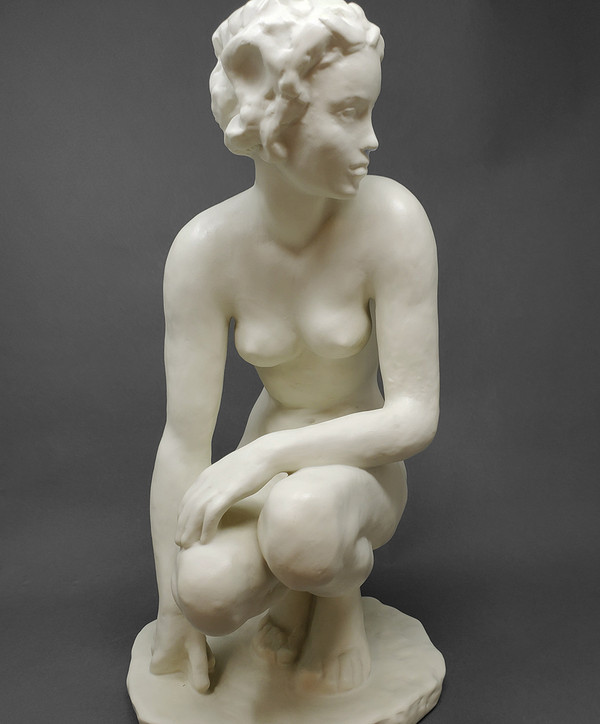 Nude sculpture made in porcelain by Rosenthal of Germany.