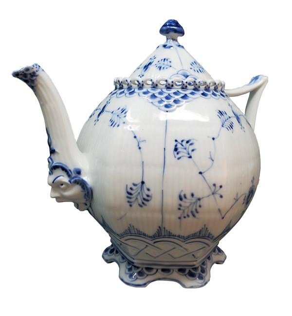 Royal Copenhagen Blue Fluted Full Lace teapot with gargoyle faces.