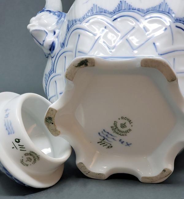 Underside of Blue Fluted Royal Copenhagen teapot showing maker's mark and style number 1119.