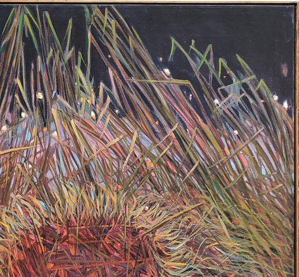 Grasses against night sky in upper right corner of painting.