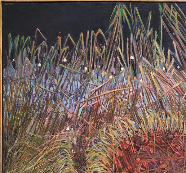 Grasses against night sky in upper left corner of painting.