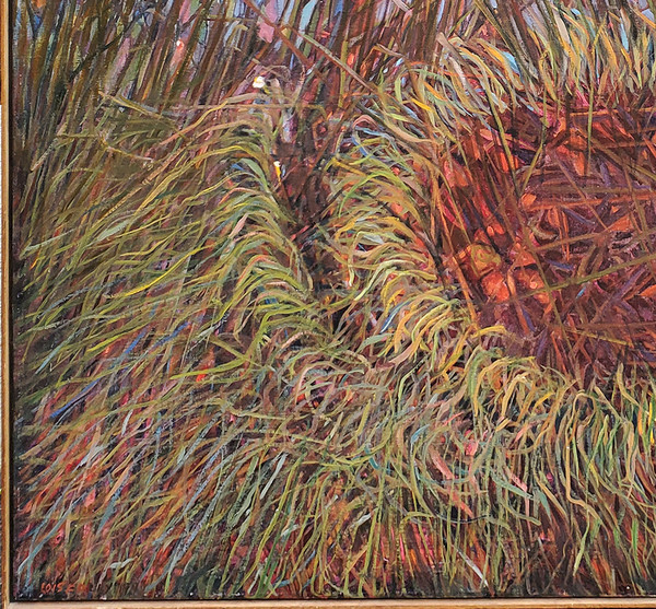 Multicolored grasses in lower left corner of painting.