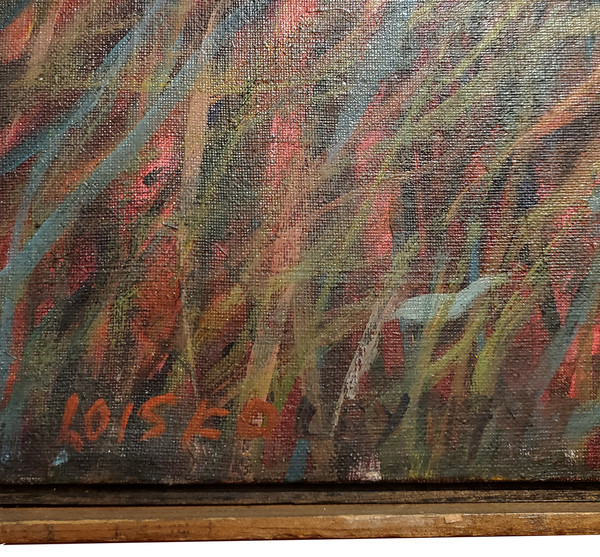 Lois Foley's signature on painting of nest.