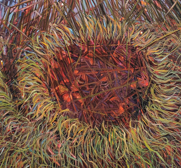 Warm toned grasses in Lois Foley painting of nest.