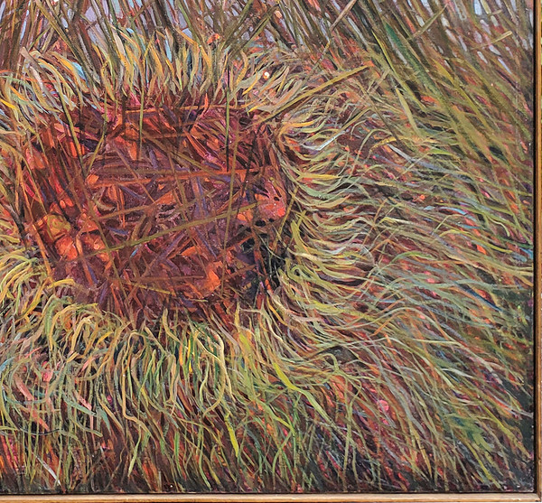 Multicolored grasses in lower right corner of painting.