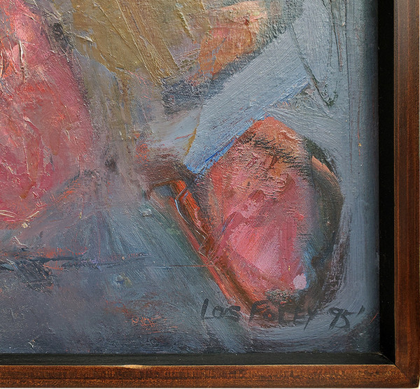 Lower corner showing Lois Foley's signature on abstract painting 1162.