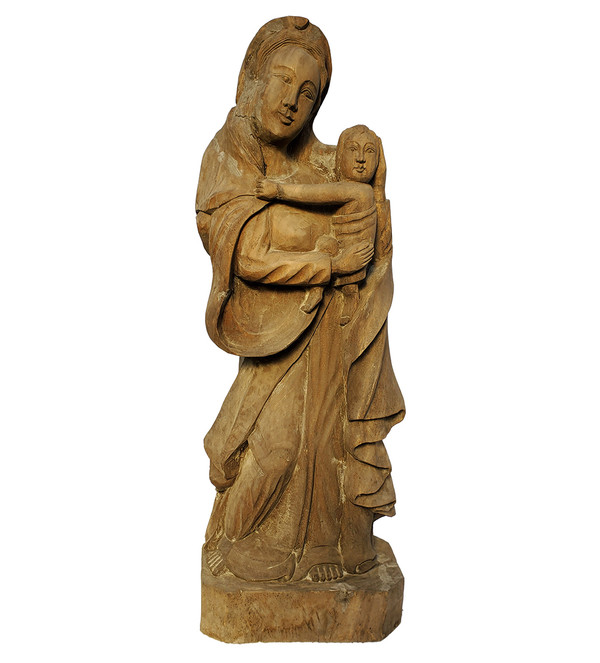 Madonna and Child Carved Mahogany Sculpture