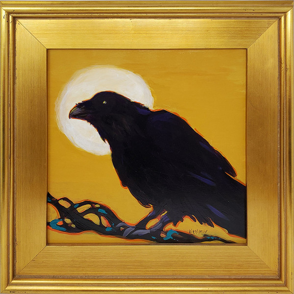"Kathryn Lemieux ""Raven IV"" - Acrylic on Board 17.5""x 17.5"""