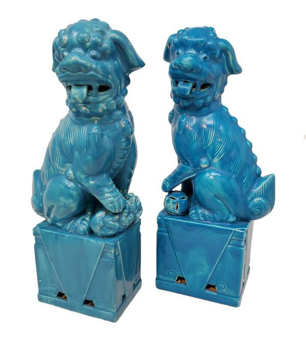 Blue Foo Dog Pair