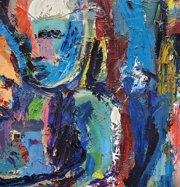 "Fauvist Figurative Abstract - Oil on Canvas 47.5""x 57.5"""