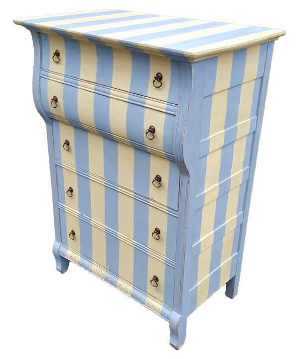 Antique dresser in pale blue and butter cream stripes with 5 drawers and ring pulls.