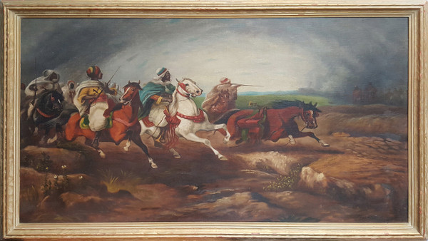 Battle - Orientalist Style Oil on Canvas