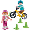 PLAYMOBIL CHILDREN WITH SKATES AND BIKE TOY