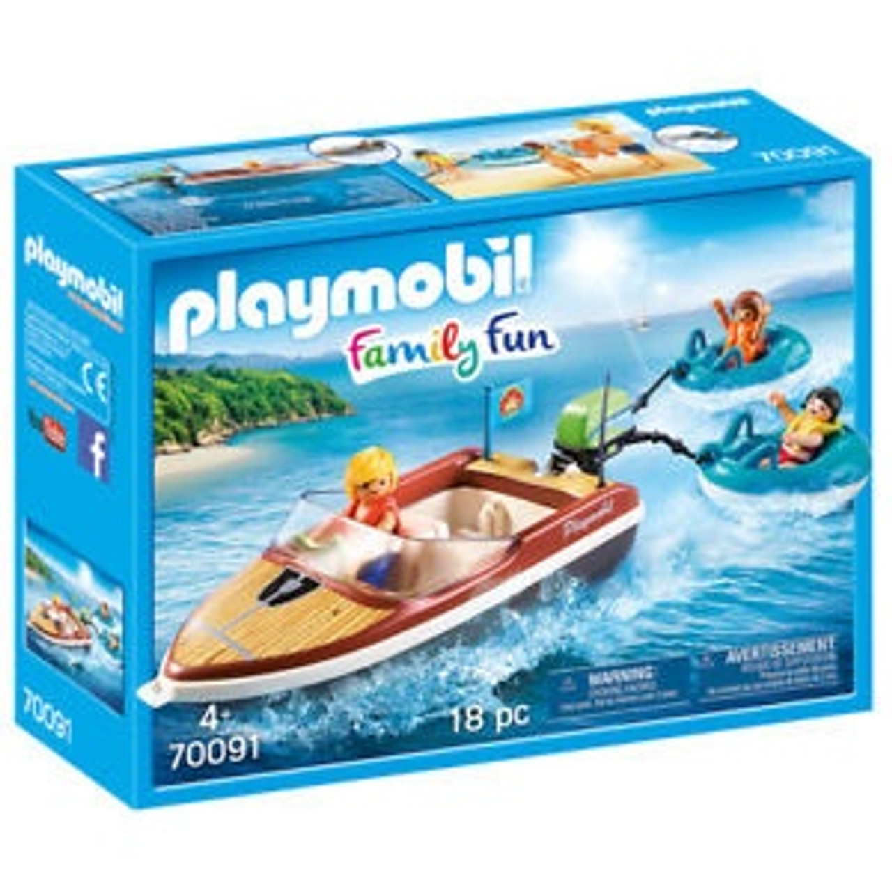 PLAYMOBIL FAMILY FUN SPEEDBOAT WITH TUBE RIDERS