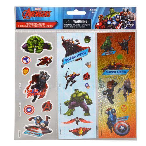 AVENGERS 3 COLUMN STICKER SHEETS