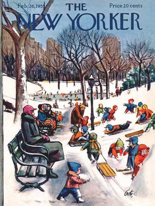 THE NEW YORKER SLEDDING IN THE PARK