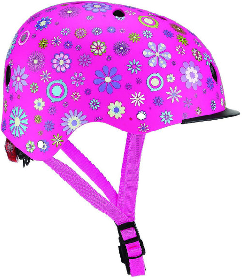 GLOBBER HELMET ELITE LIGHTS FLOWER PINK
