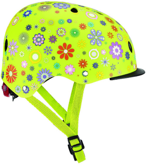 GLOBBER HELMET ELITE LIGHTS FLOWER GREEN