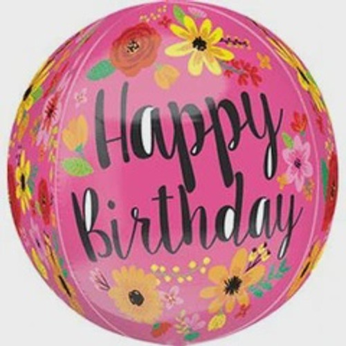 ORBZ HAPPY BIRTHDAY PINK FLORAL FOIL BALLOON 15 INCHES