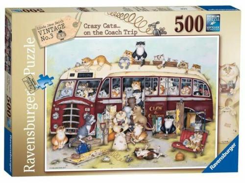 CRAZY CATS ON THE COACH TRIP PUZZLE 500 PCS