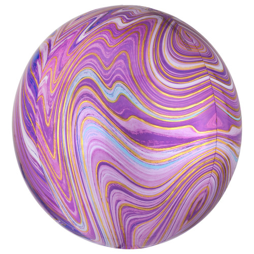 ORBZ PURPLE MARBLE FOIL BALLOON 16 INCHES