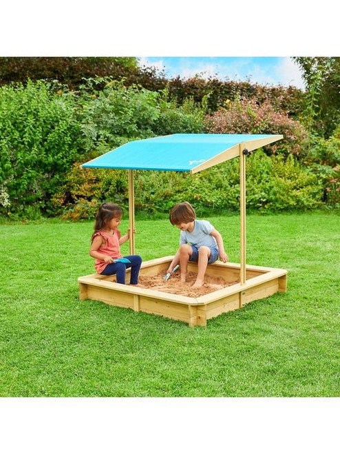 WOODEN SANDPIT WITH SUN CANOPY