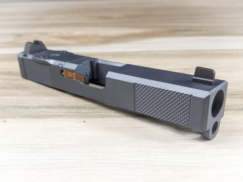 "Legion Precision ""Sleeper Build"" Complete Dimpled Slide For Glock 19 Gen 4 no barrel no guide rod Cerakote Sniper Grey w/RMR cover plate Blacked out Suppressor Height Sights"