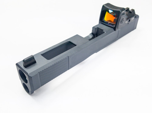 "Legion Precision ""Sleeper Build"" Complete Dimpled Slide For Glock 17 Gen 4 no barrel no guide rod Cerakote Sniper Grey w/RMR cover plate Blacked out Suppressor Height Sights"