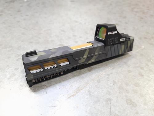 Complete LP window cut slide for Glock 43/43x with Holosun 507K Multicam cerakote
