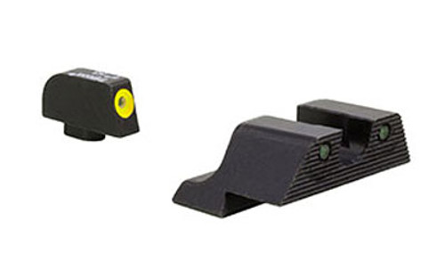 Trijicon, HD XR Night Sight Set, 3 Dot Green Tritium With Yellow Front Outline, Fits Glock 17/19/26/27/33/34