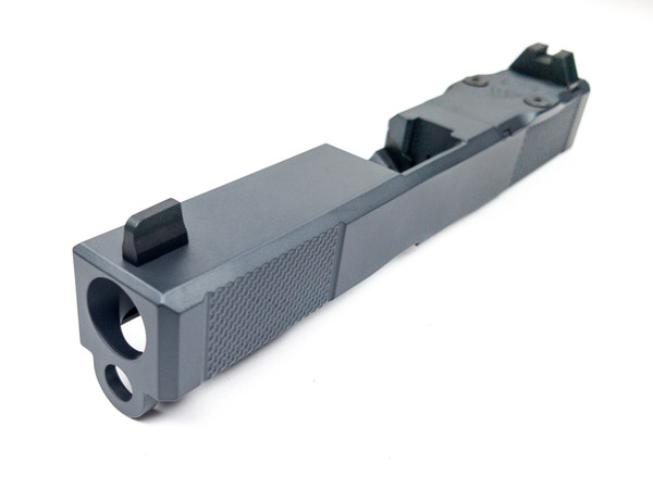"""Legion Precision """"Sleeper Build"""" Complete Dimpled Slide For Glock 19 Gen 3 no barrel no guide rod Cerakote Sniper Grey w/RMR cover plate Blacked out Suppressor Height Sights"""
